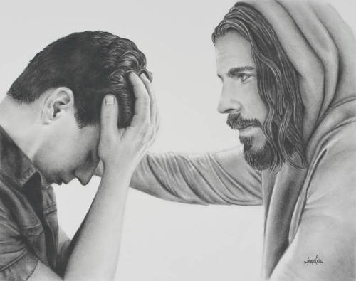 Drawing of Jesus comforting a distressed young man, placing a reassuring hand on his shoulder.