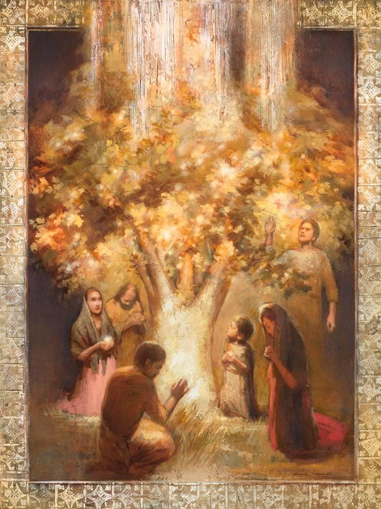 A family praying around a glowing tree.