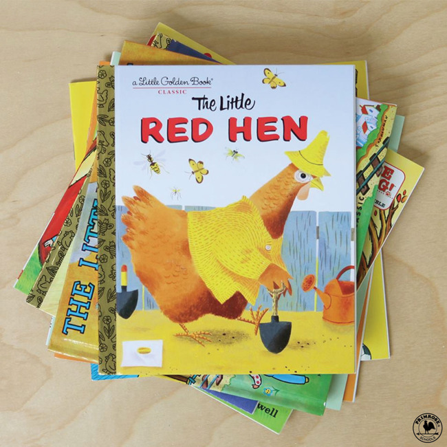 "The book ""The Little Red Hen"" placed on top of a pile of other storybooks"