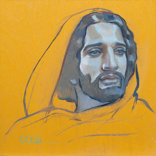 Oil painting of Jesus in a yellow robe against a yellow backdrop.