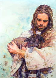 Painting of Jesus holding a black lamb.