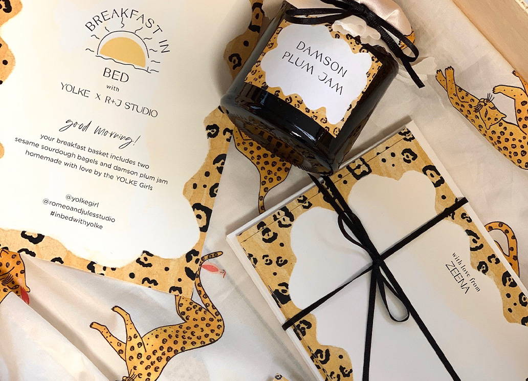Close up of Breakfast in Bed goodies with Prowling Leopard Pyjamas