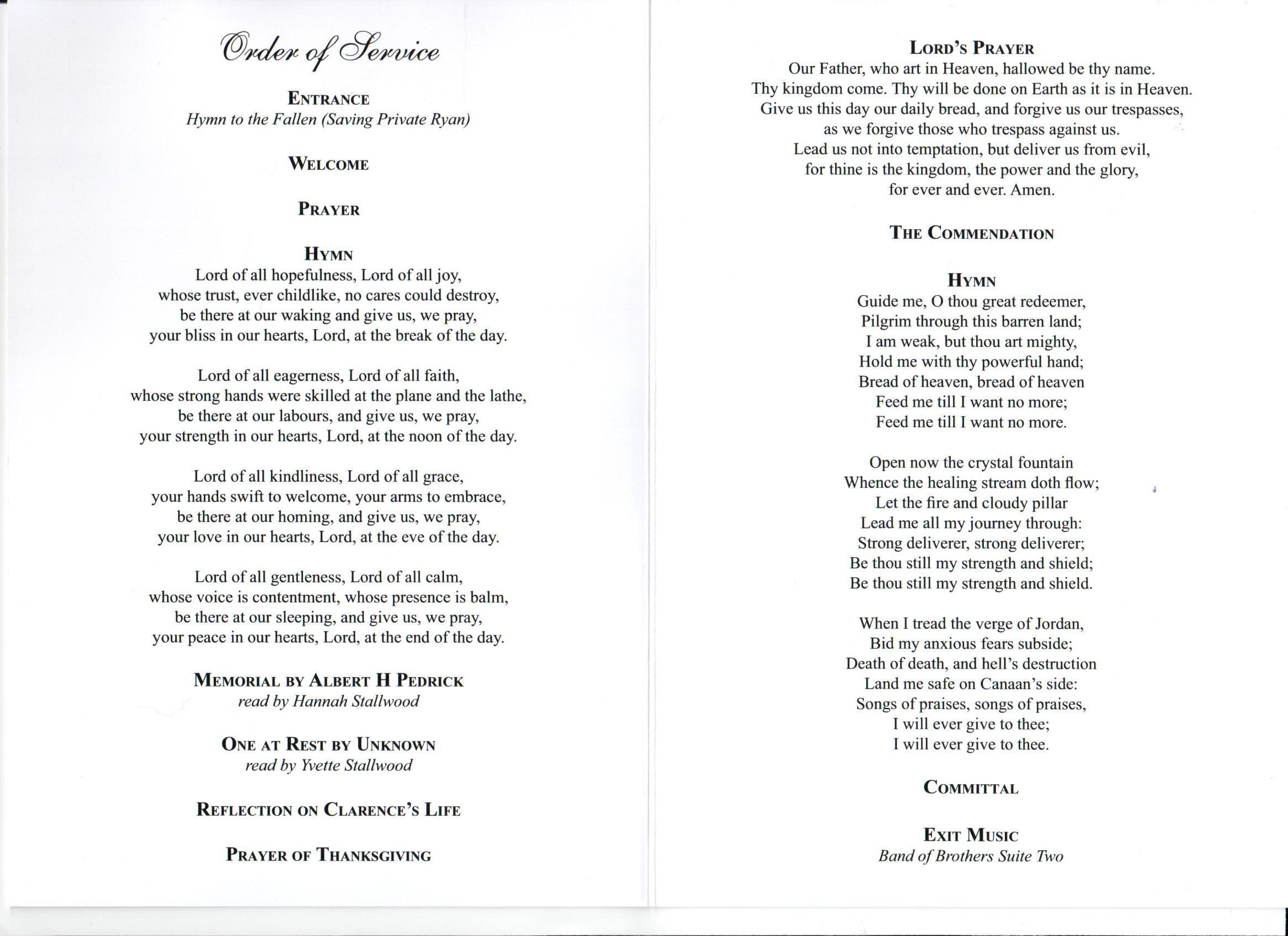 funeral stationery with grace