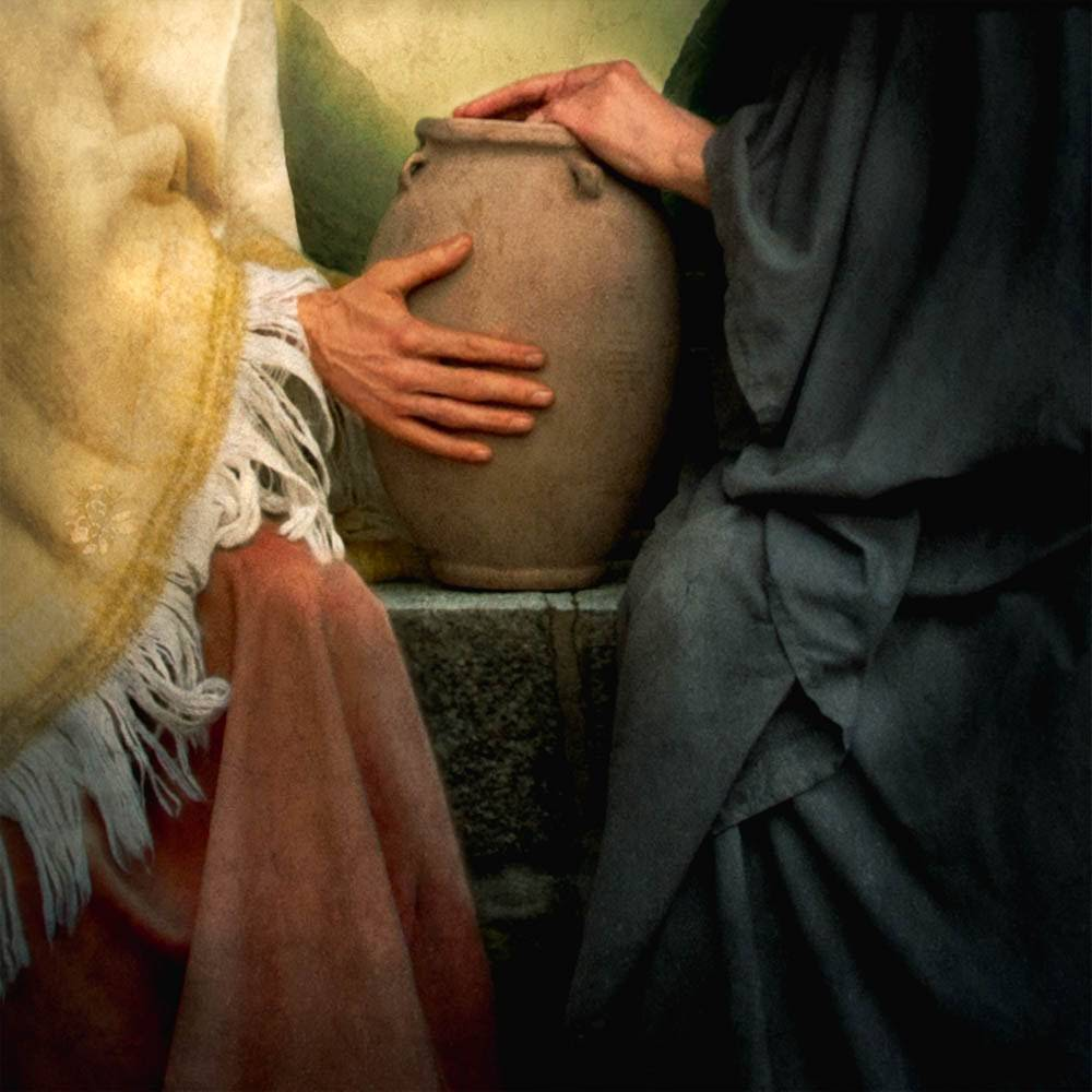 LDS art painting of Jesus Christ teaching the woman at the well.