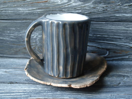 Кофейная чашка и блюдце ручной работы 200 мл