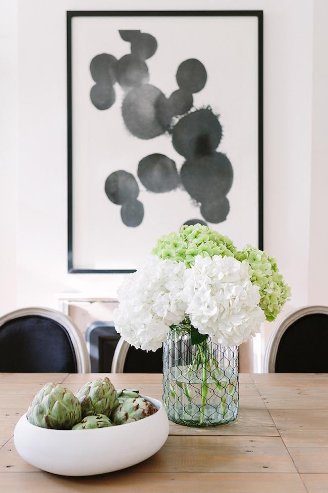 Black and white Lula Art Print in Alaina Kaczmarski's Dinning Room, cofounder of The Everygirl