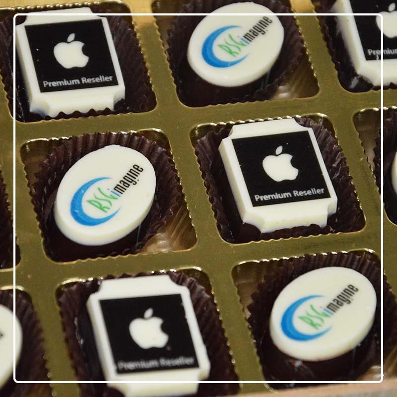 chocolates printed with apple logo