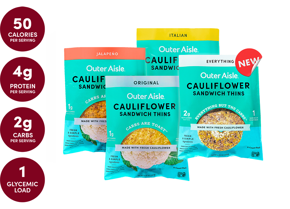 layered cauliflower sandwich thins packages