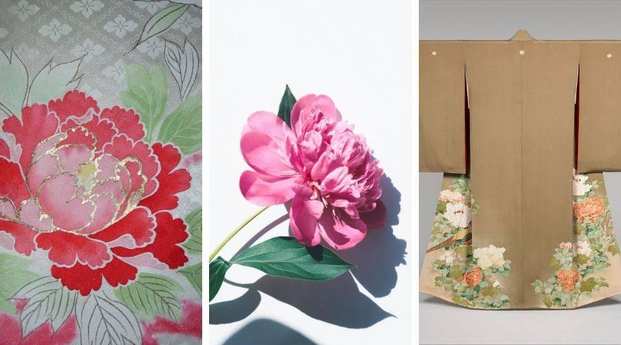 three examples of peony on japanese kimono