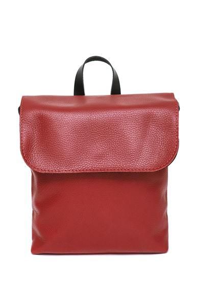 Кожаный красный женский рюкзак City mini red