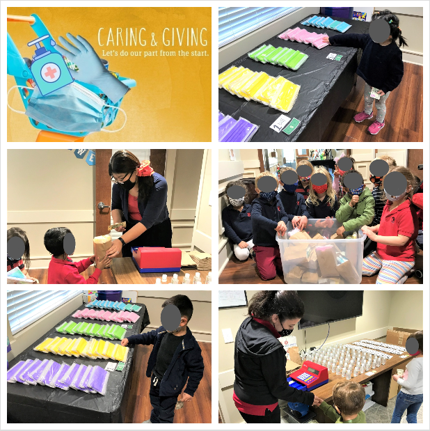 collage of children shopping for masks, hand sanitizer and gloves in our mock grocery store