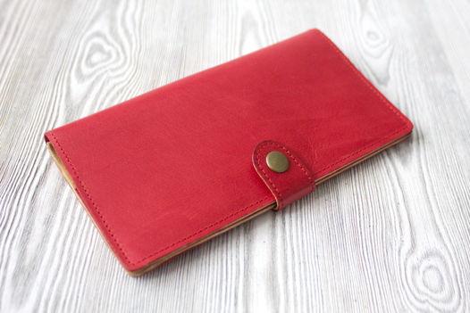 """Красное женское портмоне, из натуральной кожи """"Коралл"""""""
