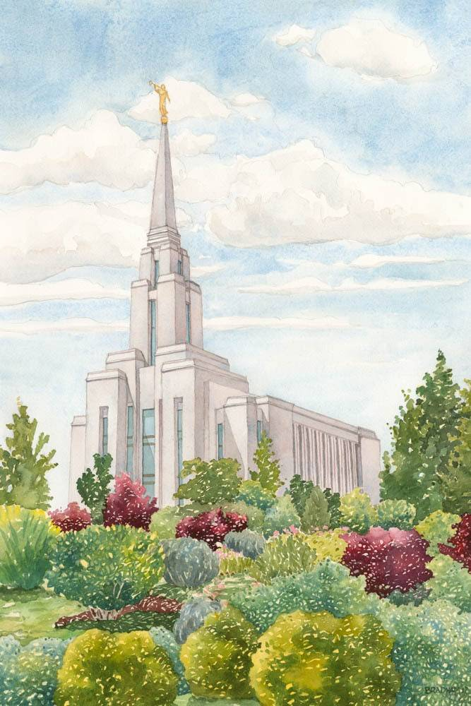Vertical LDS art painting of the Oquirrh Mountain temple amid spring flowers and bushes.
