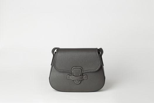 Серая сумка из натуральной кожи  - MIRA - natural leather bag