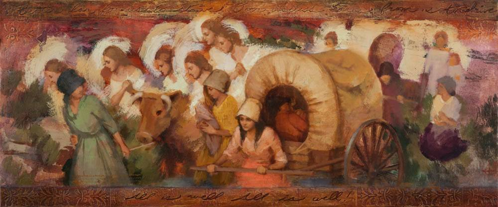 Panoramic LDS art print of pioneer women pulling handcarts while angels help them.