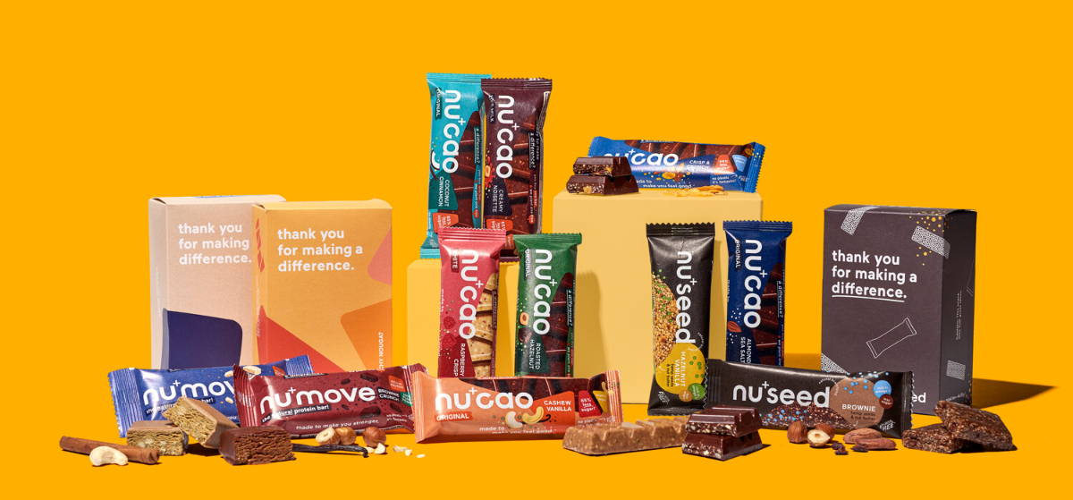 Full range of the nu company products: nucao chocolate, nuseed bar and numove protein bar