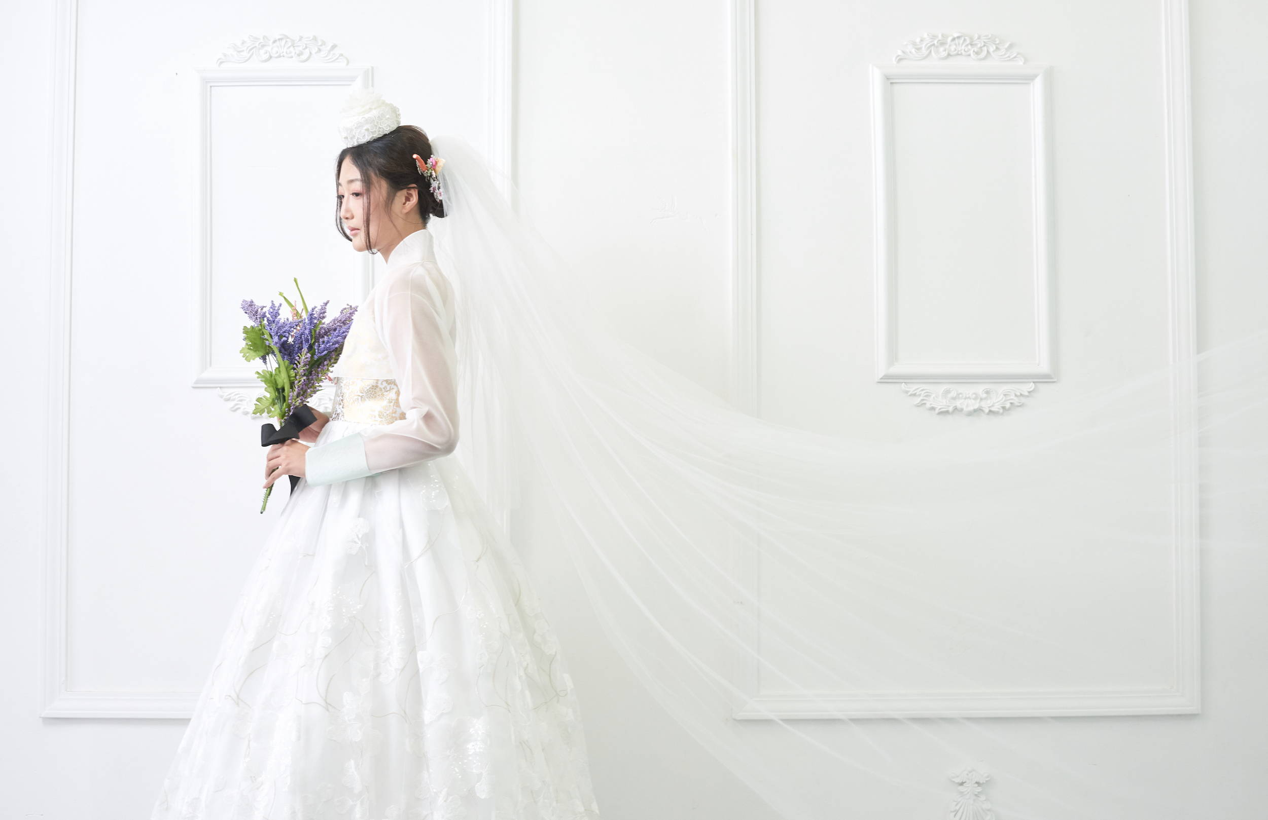 BRIDAL HANBOK WEDDING DRESS WITH LACE ALINE GOWN