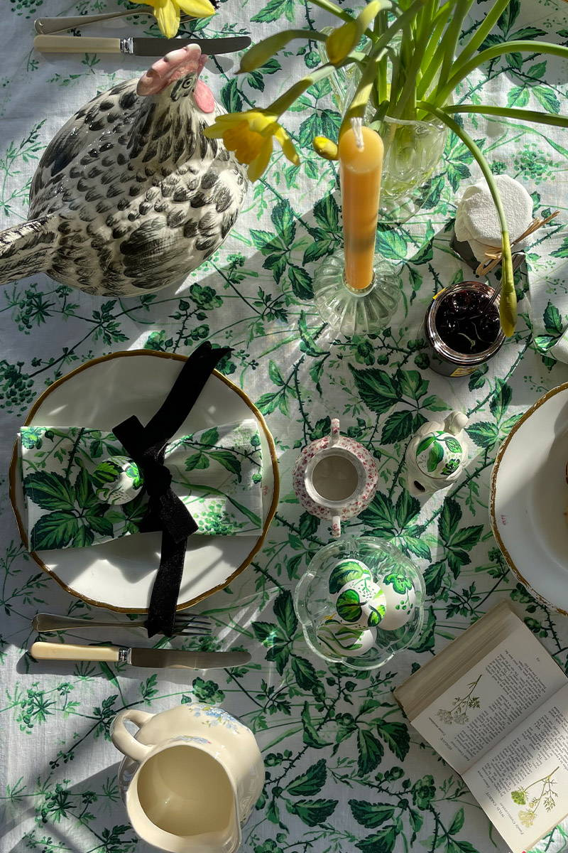 Easter Tablescape set with YOLKE's Hedgerow Collection of Linen homewares