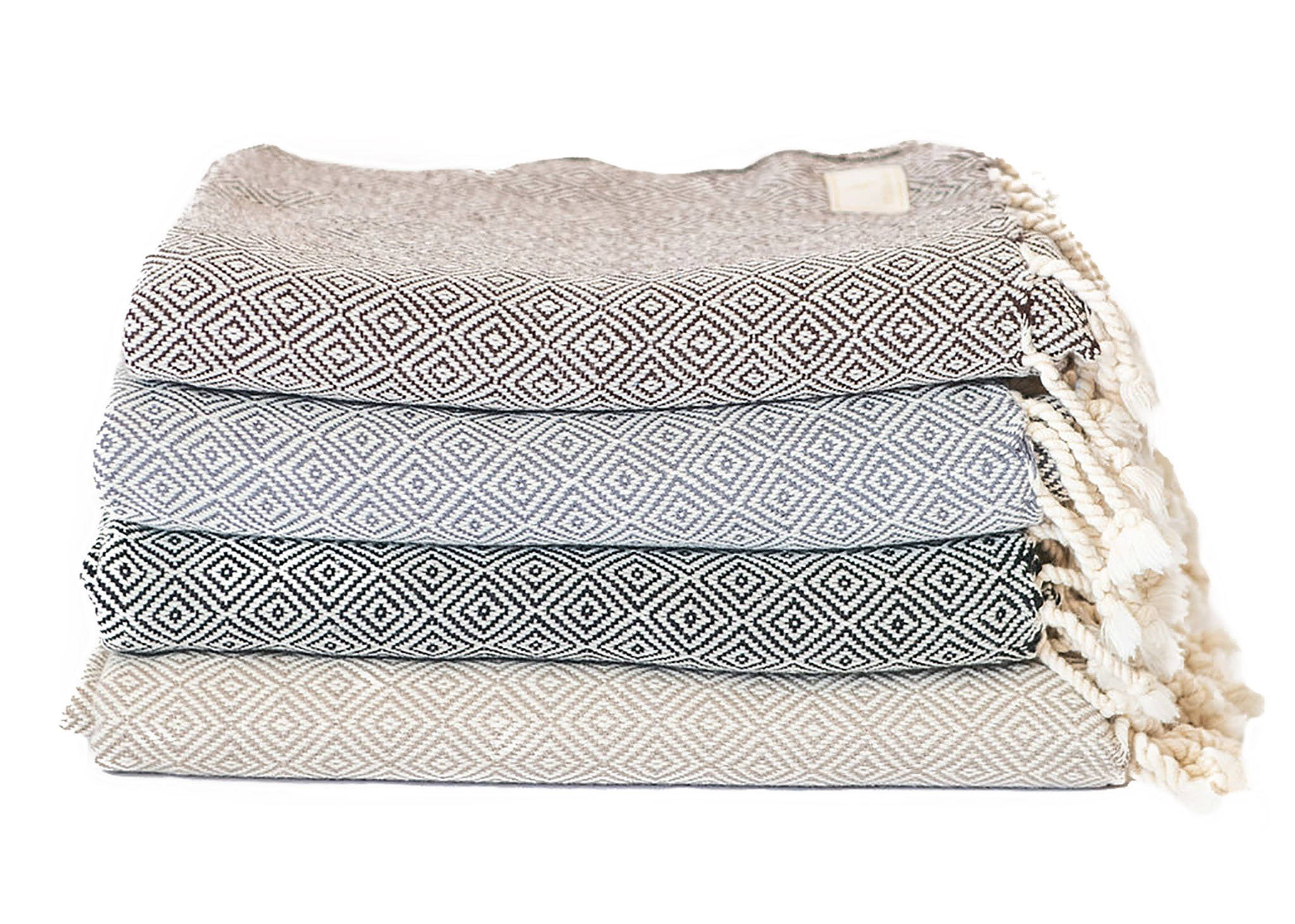 Handwoven organic cotton Turkish scarves, wraps, blankets in brown, charcoal, black & taupe - Stick & Ball
