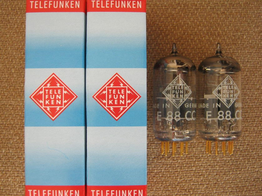MATCHED PAIR NOS Telefunken 6922/ECC88 <> Bottom Gold Pin The Best Sound Tubes for Pre-amp Bat-VK,  Aesthetix, Conrad Johnson, LAMM, Cary, Audio Research, CAT..