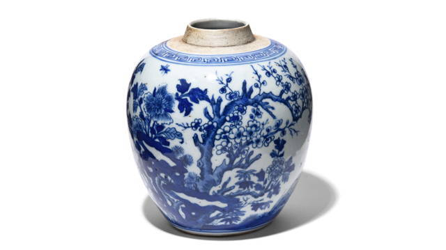 Blue & White Porcelain Ginger Jar - Cherry Blossom | Indigo Antiques