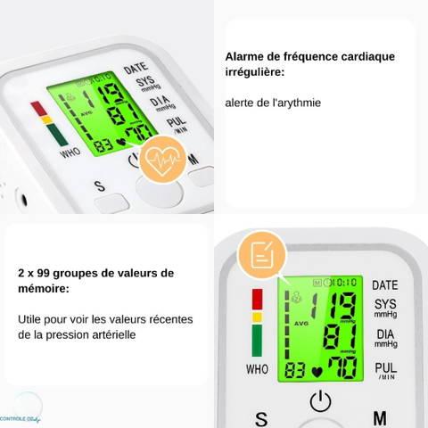 Tensiomètre écran 3 couleurs alarme mémoires