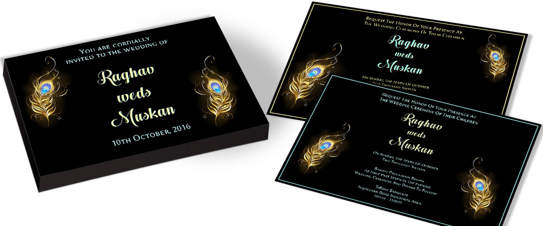 Peacock feather Marriage Invitations