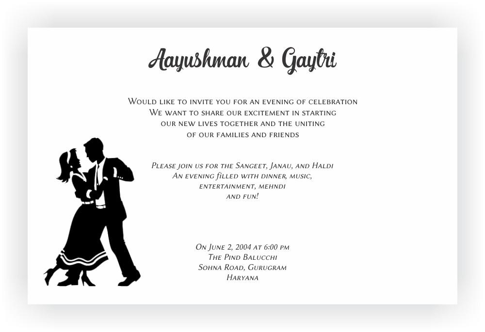 Sangeet Ceremony Invitation Wordings CHOCOCRAFT
