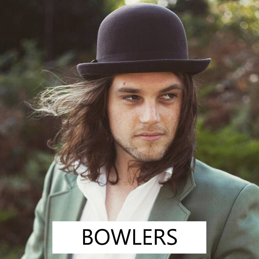 Men's bowlers for a vintage inspired, poetic style.