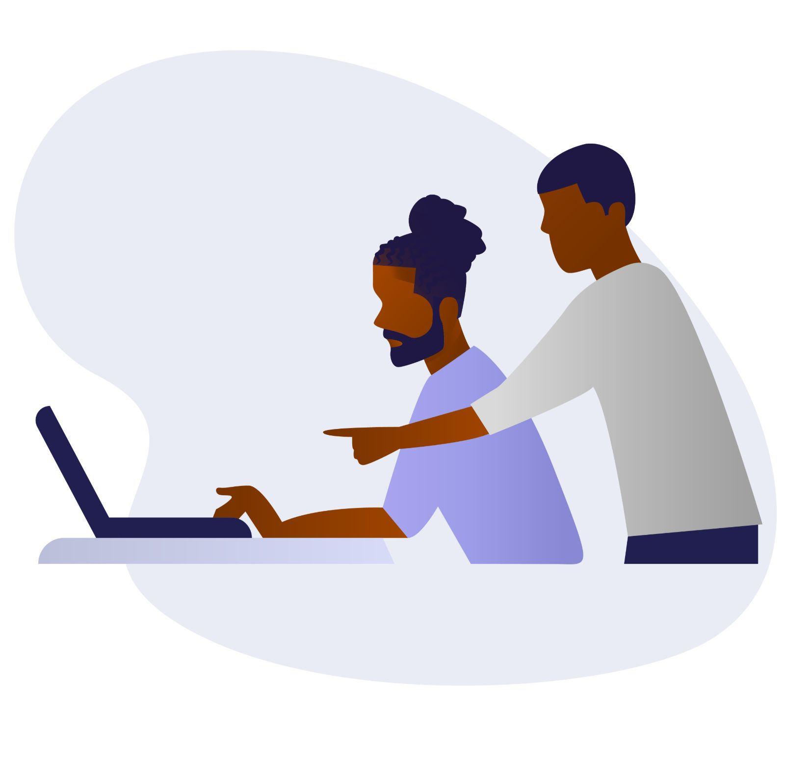 Two black men using laptop