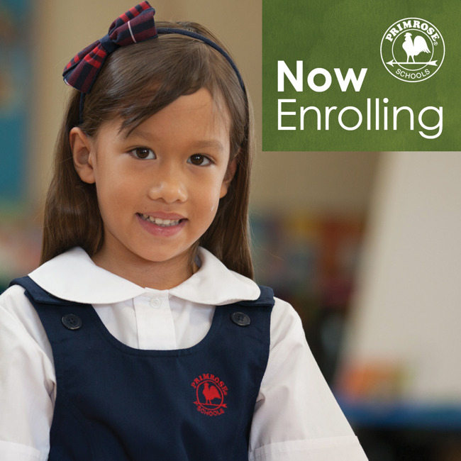 Now enrolling poster featuring a young Primrose student smiling