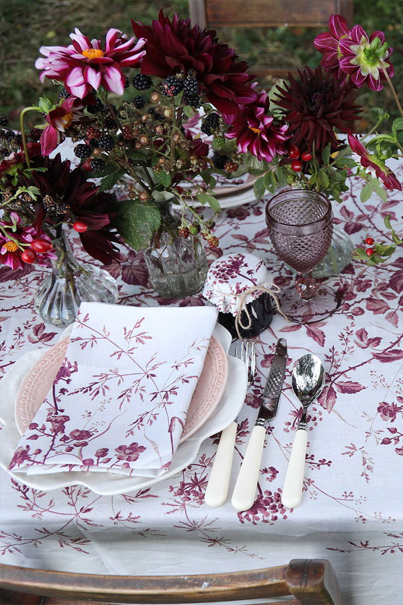Blackberry Napkin matches with tablecloth in winter tablescape