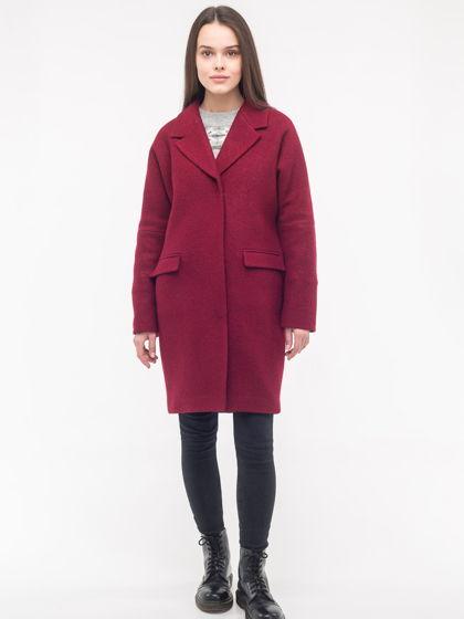 Зимнее утеплённое пальто-кокон винного цвета из вареной шерсти