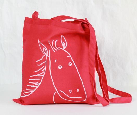 Улыбающаяся лошадь на сумке через плечо или на стандартной арт-авоське Fishcard