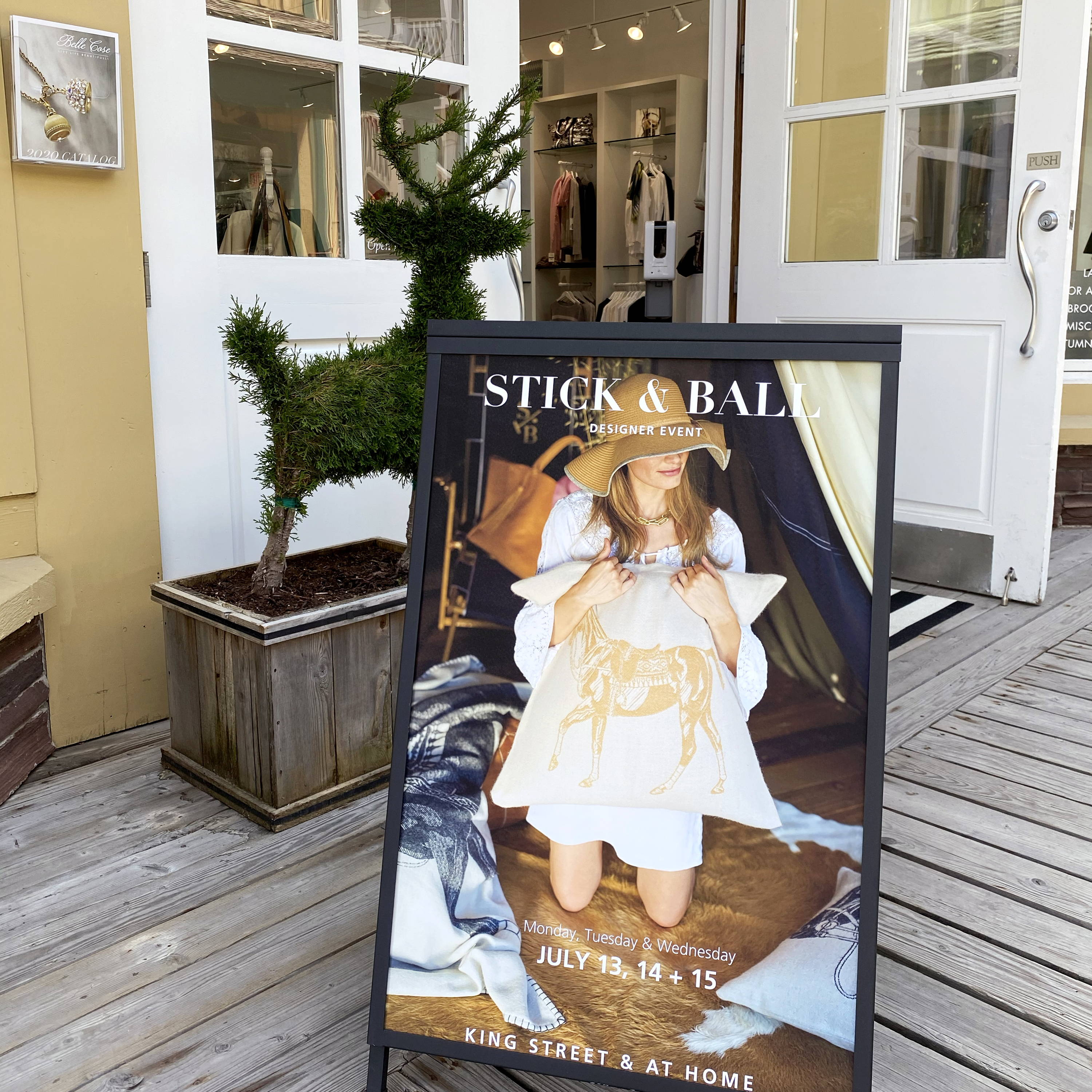 Display sign for the Stick & Ball pop-up shop in Jackson Hole for Belle Cose Trunk Show