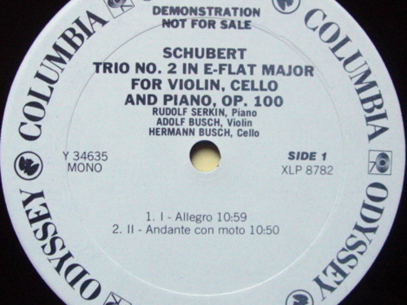 Columbia Odyssey / BUSCH-SERKIN, - Schubert Trio No.2, NM, White Promo Copy!