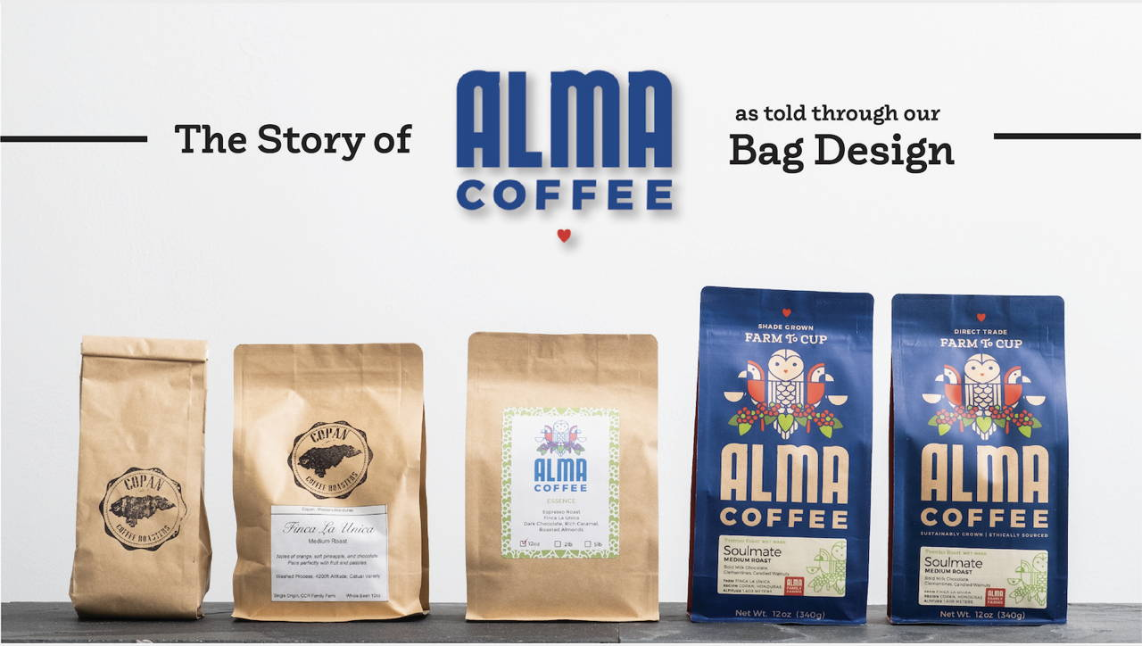 Five bags of Alma Coffee, from the earliest design to the most recent design.