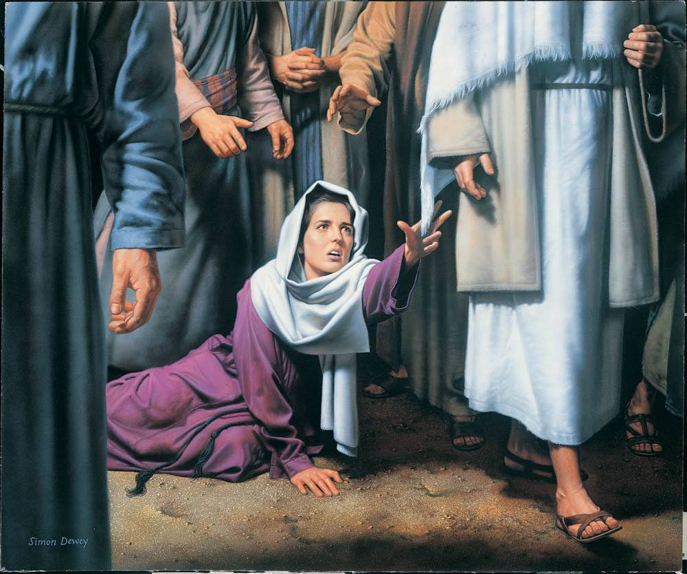 LDS art painting of a woman reaching out to touch the hem of Jesus' robe.