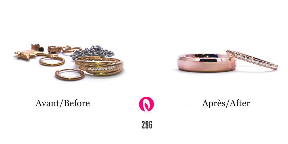 Transformation d'une bague et d'une broche en or avec un diamant en une superbe bague en or  à multiples branches entrelacées serti du diamant.