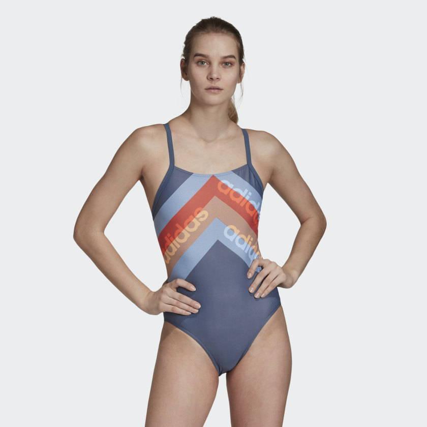 Adidas patterned blue swimsuit econyl