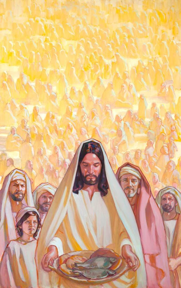 Vertical painting of Jesus Christ holding three loaves and two fishes. A crowd of people stand behind Him.