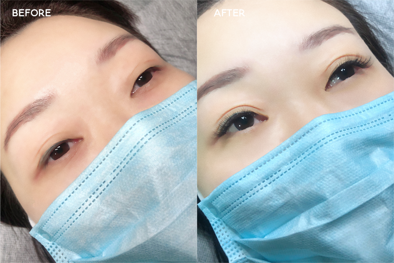 Project Lash Studio Singapore - Before and after eyelash extensions transformation