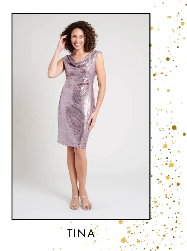 Shop Tina Pink Sequin Cowl Neck Dress >