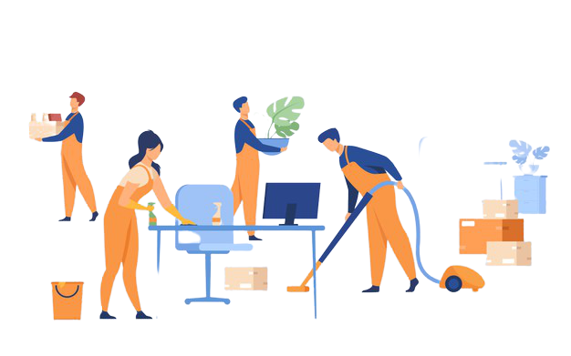 Professional janitors working office isolated flat vector illustration cartoon cleaning team washing holding stuff removing dust using vacuum cleaner 74855 8544 removebg preview