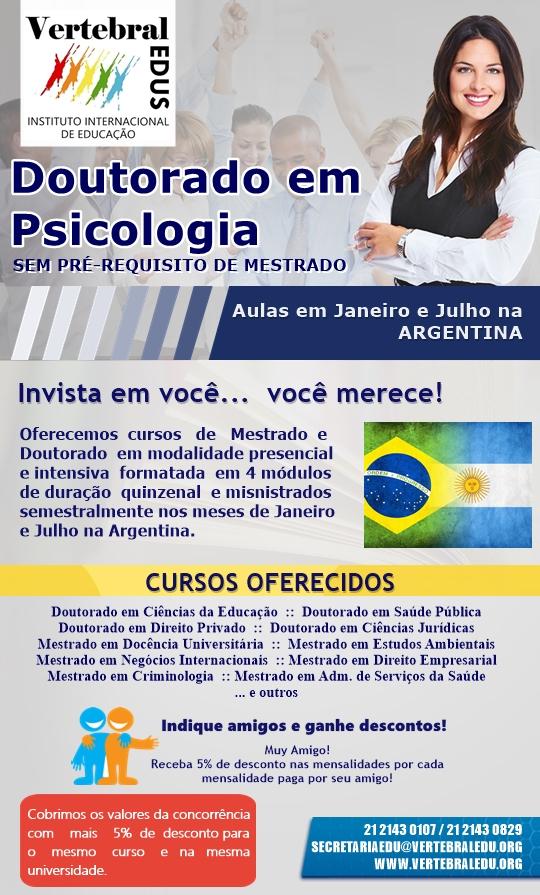 Doutorado em Psicologia na Argentina - VertebralEDUS - Instituto Internacional de Educação - Inscrições Abertas.