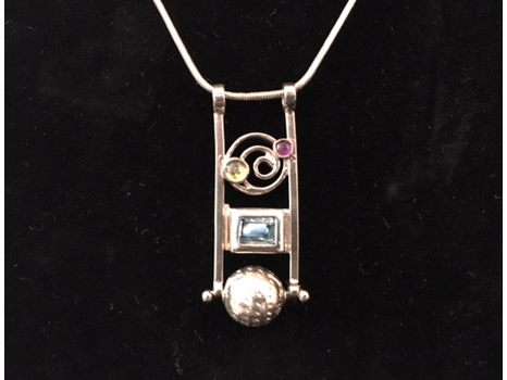 Sterling Silver Pendant with Metal Work, Jewels and Chain