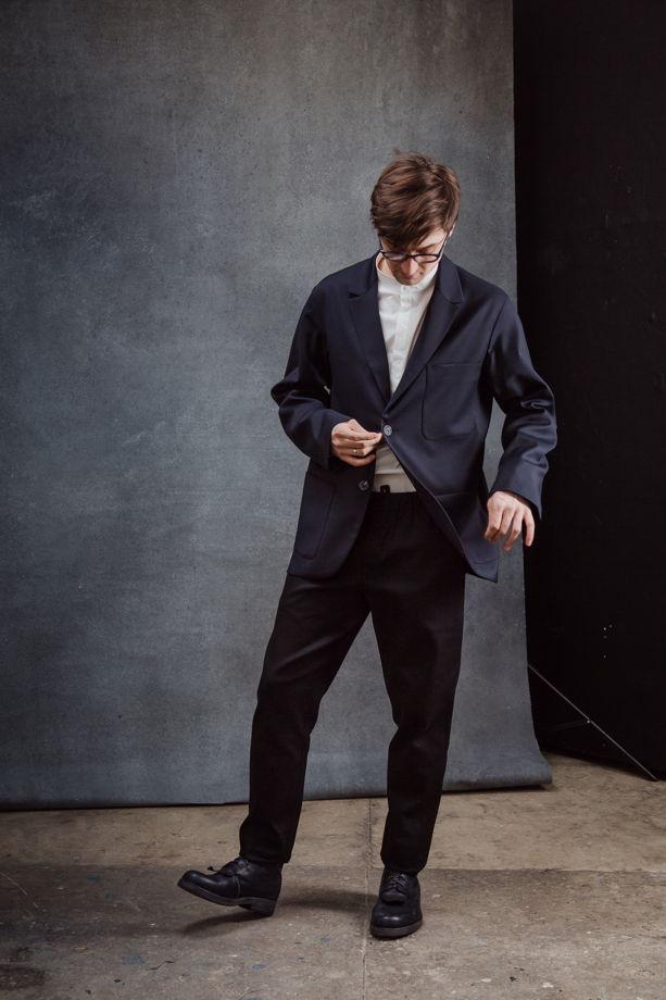 Пиджак синий из тонкой шерсти