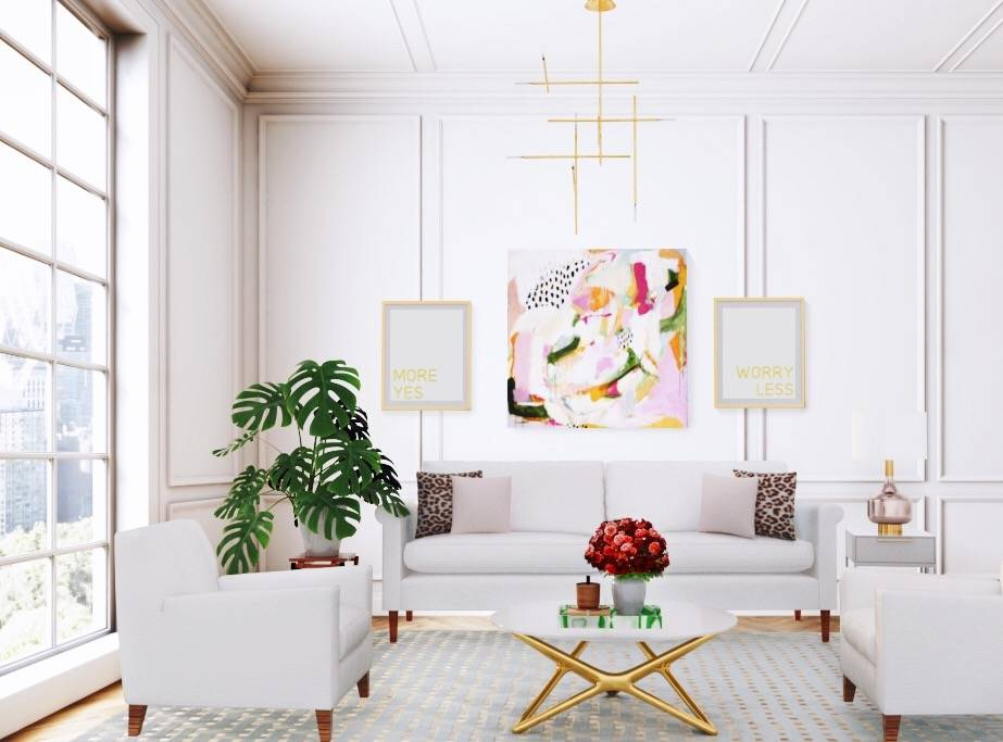 Felicity abstract art print by Parima Studio in styled living room with gorgeous large windows, white arm chairs and beige sofa