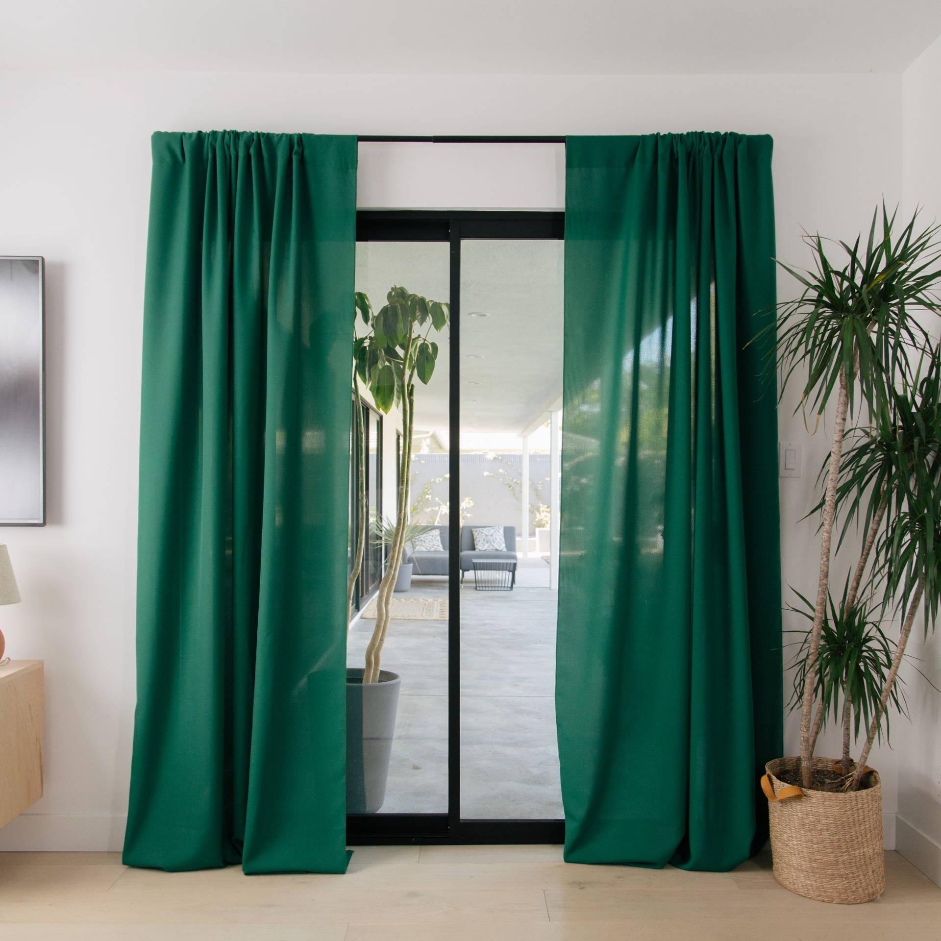 LA Linen Drapes, Poplin, Emerald Green, Interior, Home Decor, Window, Plant