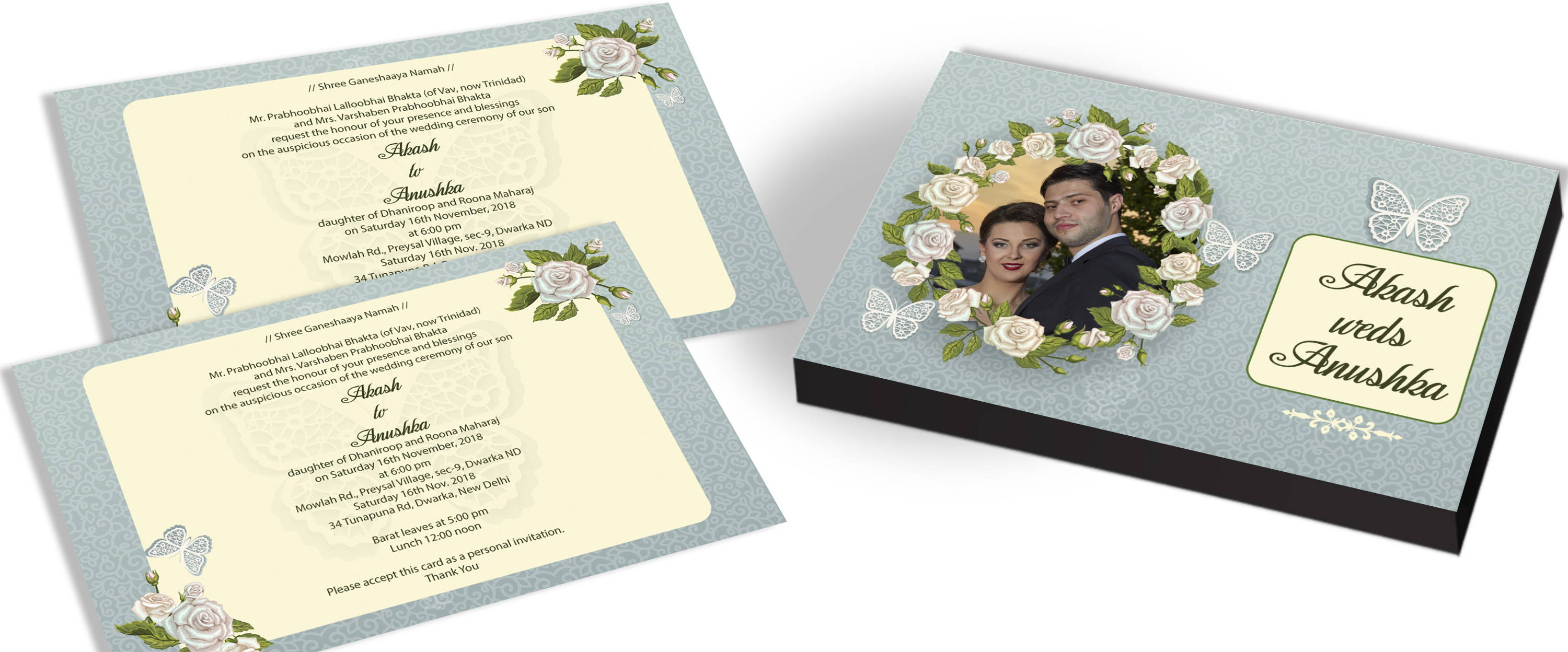 Customized Butterfly Invitation for Indian Marriage